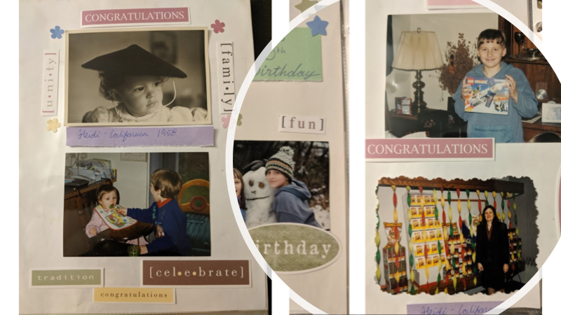 A collage of colorful scrapbook pages for the Creating the Book section in the Legacies that Last: Preserving Your Memories with Legacy Scrapbooks and Heirloom Albums post on the Legacy Estate Planning Blog. Image credit to Heather Agun
