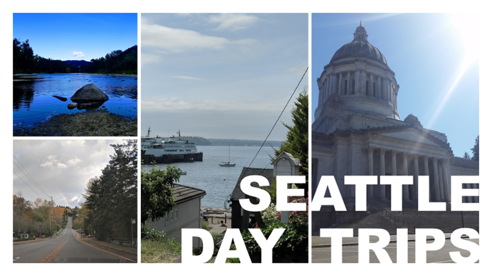 Collage of Seattle Area Locations including Olympia Capitol Building Leavenworth and Ferry dock in Seattle with text Seattle Day Trips for Legacy Estate Planning Blog Post 3 Unique Summertime Activities for You and Your Grandkids by Heather Agun Image credit to Heather Agun